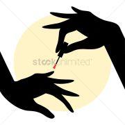woman hands with nail polish vector