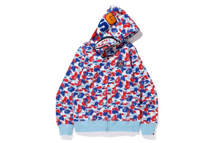 bape x psg shark full zip hoodie blue