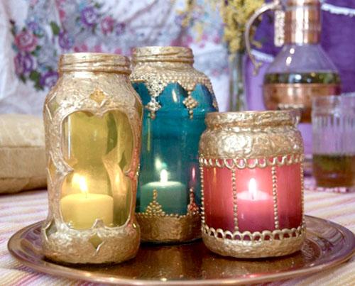 Tạo lọ đựng nến sắc màu Ả Rập từ hộp thủy tinh cũ - Archi