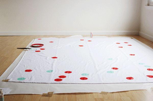 Tự làm khăn trải bàn họa tiết chấm bi - Archi