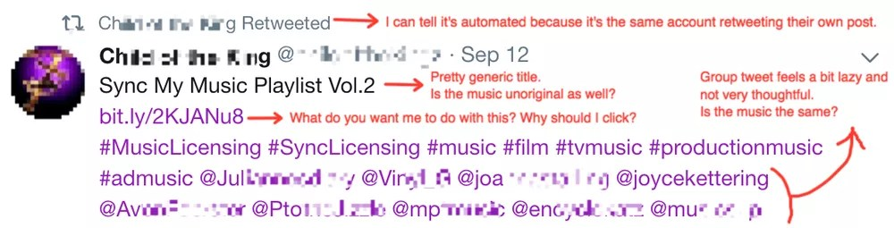 Music licensing networking - Thoughtless tweet