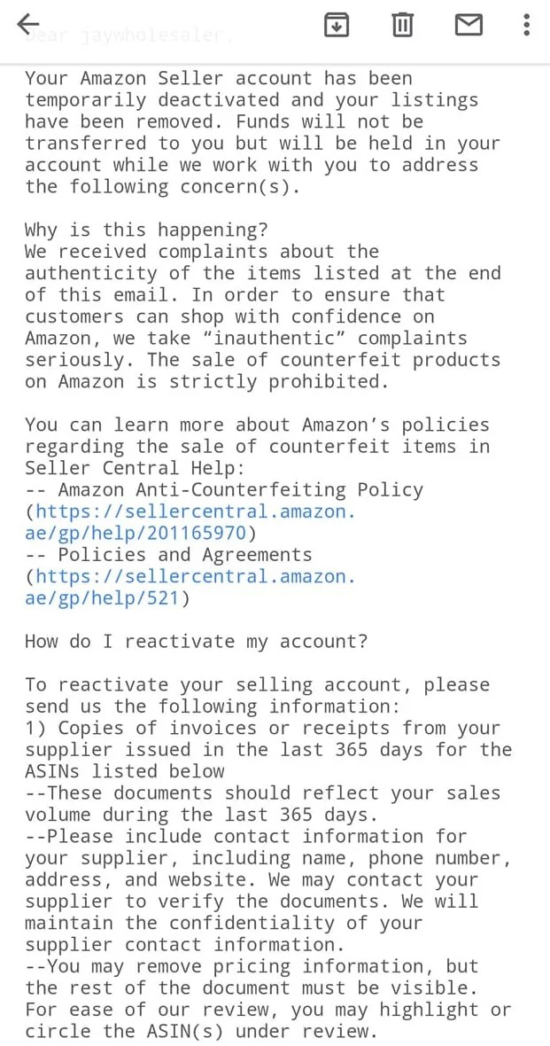 Amazon seller Account is Suspended