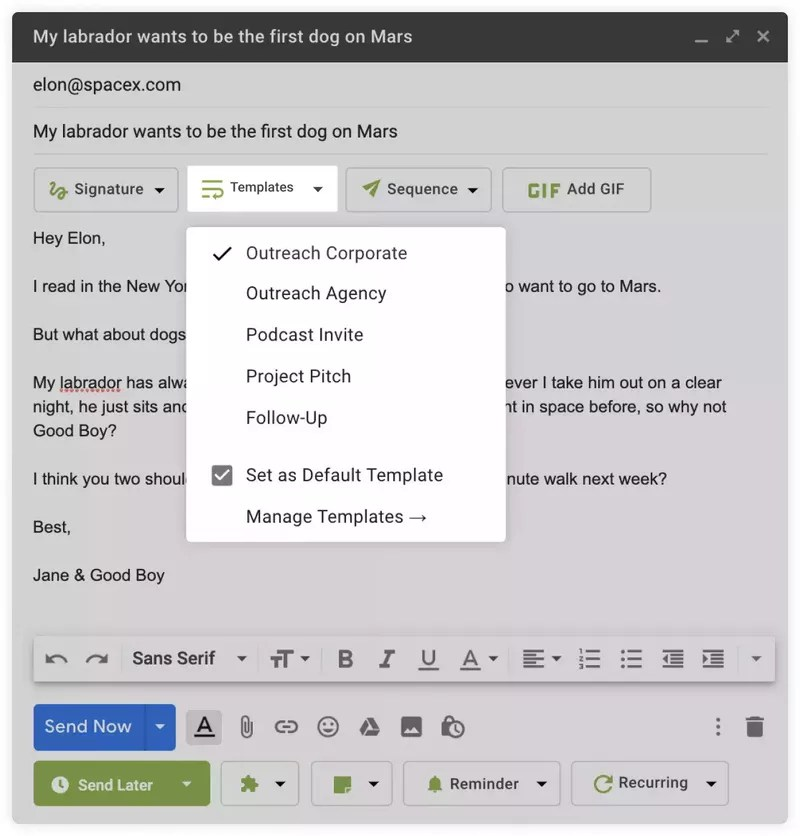 Right Inbox - templates in Gmail