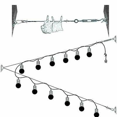 String Light Hanging Kit,Guide Wire for Outdoor String