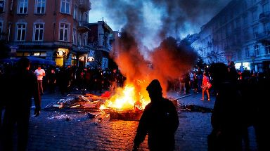Activists started street fires in Hamburg on a second night of rioting.