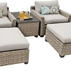 Lexmod Monterey Outdoor Wicker Rattan Sectional Sofa Set Molded Plastic Furniture In Beige Now Up To 71 Stylight Tk Classics 5 Piece Patio Conversation With Ottoman And 2 Sets Of Cushion
