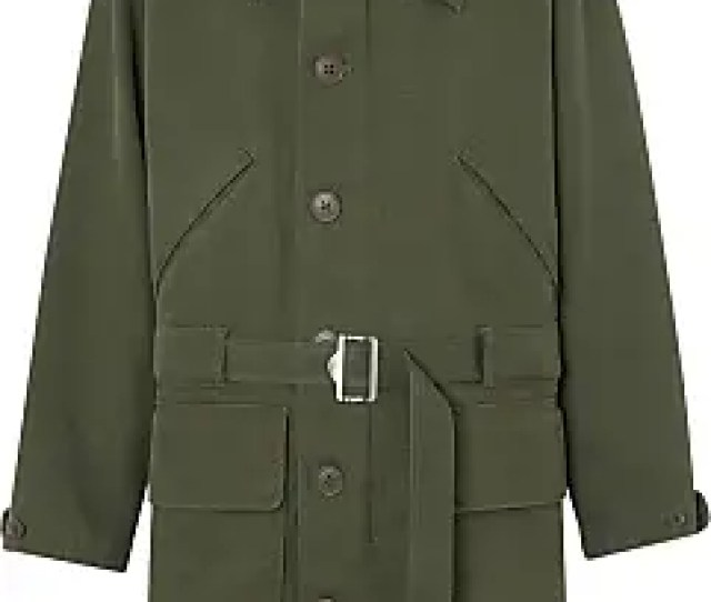 Burberry Double Faced Cotton Silk Hooded Parka With Warmer Green