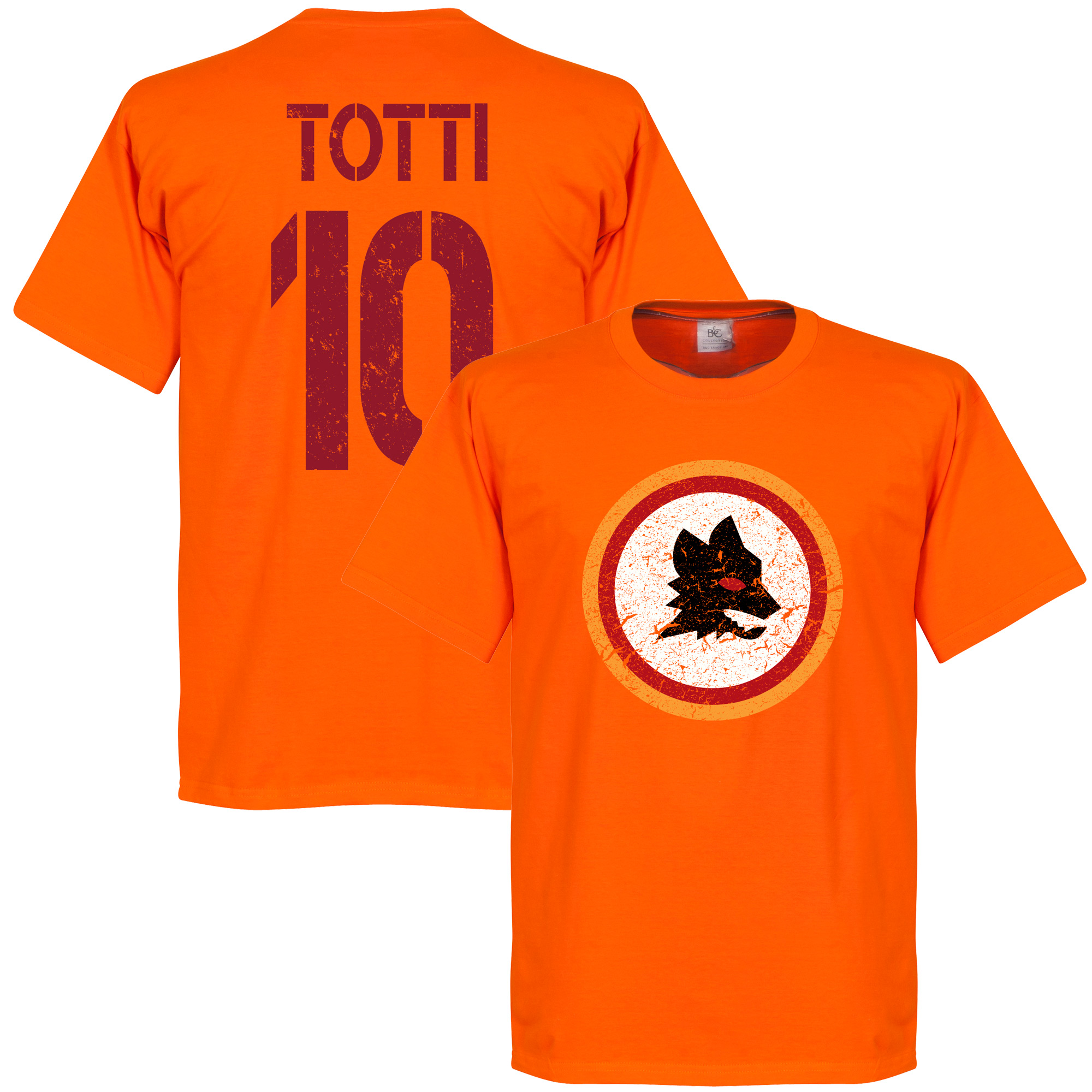 Roma Vintage Crest with Totti 10 Tee - Orange - XL