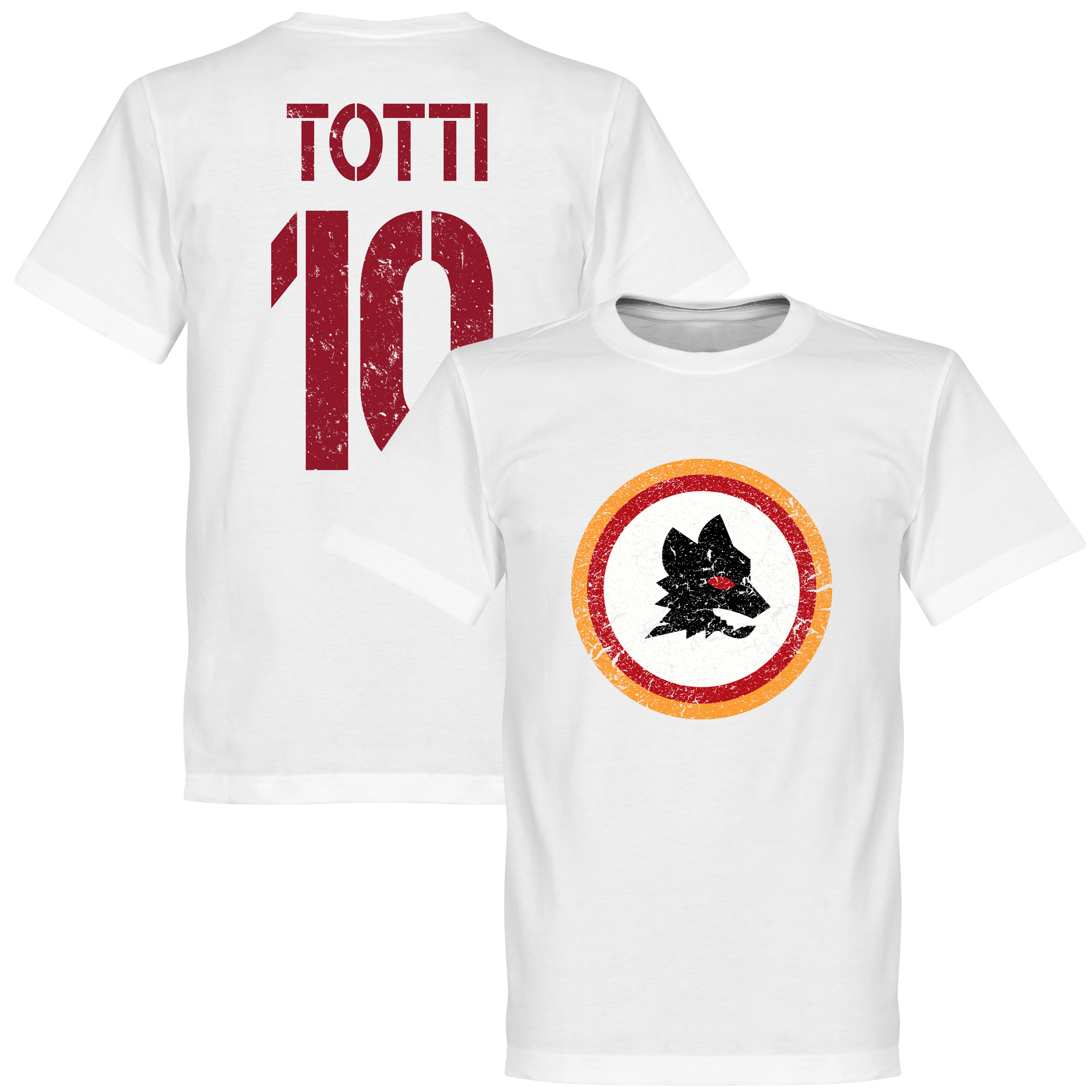 Roma Vintage Crest with Totti 10 Tee - White - XL