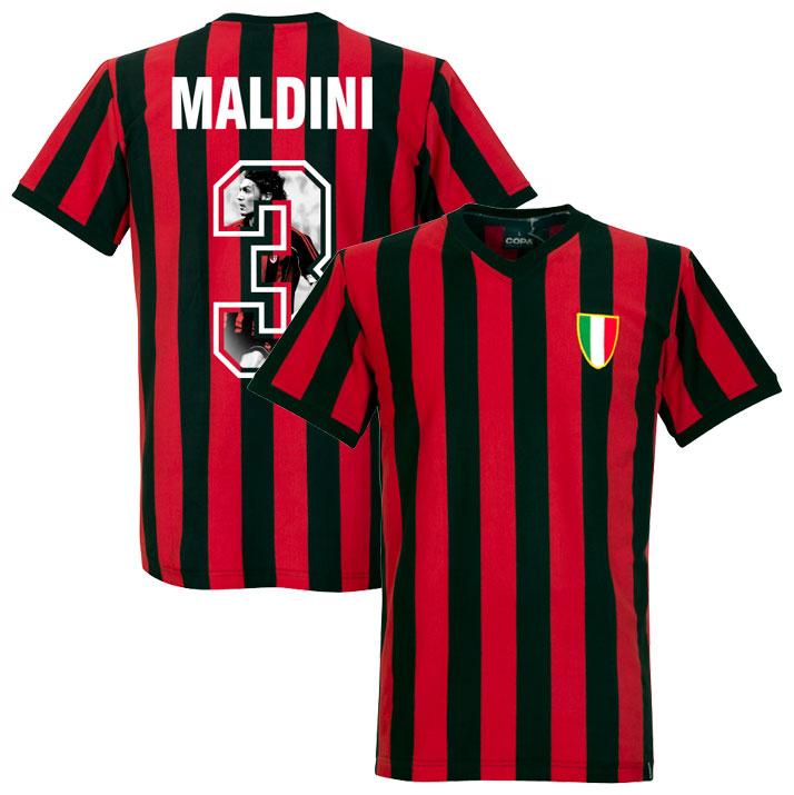 1960's AC Milan Home Retro Shirt + Maldini 3 (Gallery Style Printing) - L