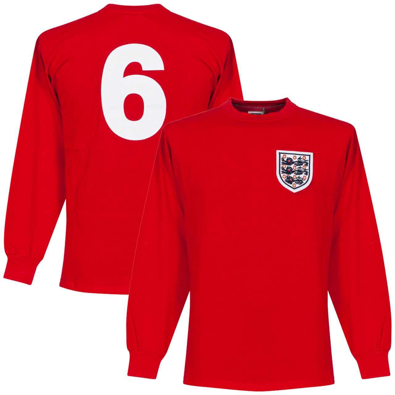 1966 England Away L/S Retro Shirt + No. 6 - XXL