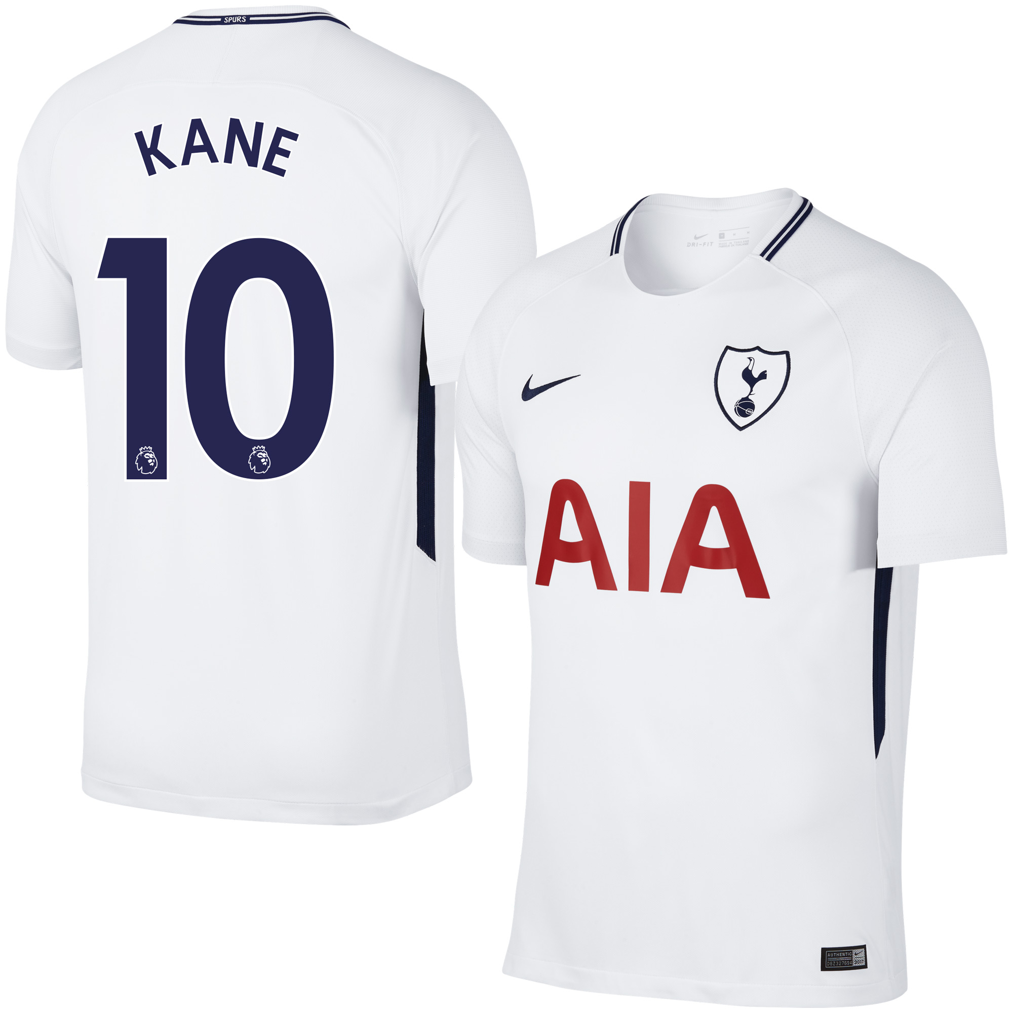 Tottenham Home Kane Jersey 2017 / 2018 (Authentic EPL Printing) - S