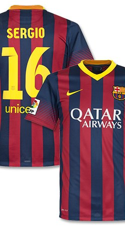 Barcelona Home Sergio Jersey 2013 / 2014 - XL