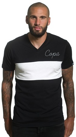 Copa Signature V-Neck Tee - Black/White - S