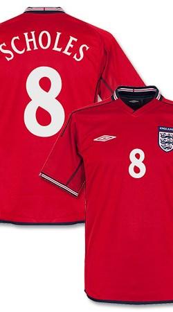 02-03 England Away Jersey + Scholes 8 - Reversible - S