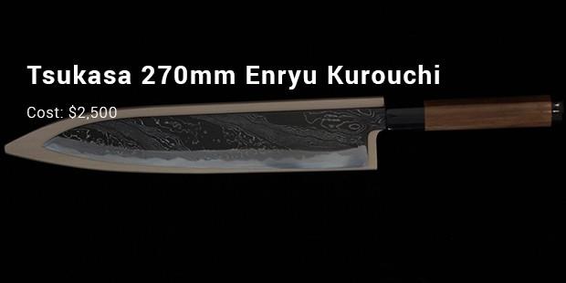 4. Tsukasa 270mm White Steel Enryu Kurouchi Damascus Wa Gyuto U2013 $2,500