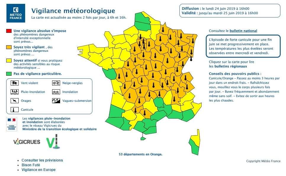 53 departements en vigilance orange