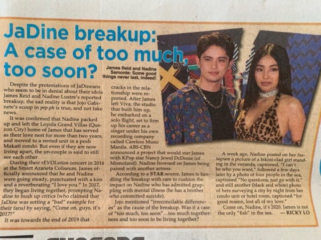 Nadine Lustre breakup rumors