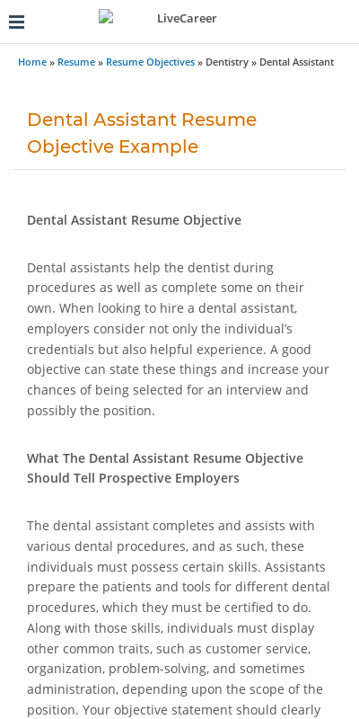 Dental assistant resume examples & samples. Objectives For Dental Assistant Resumes 20 Guides Examples