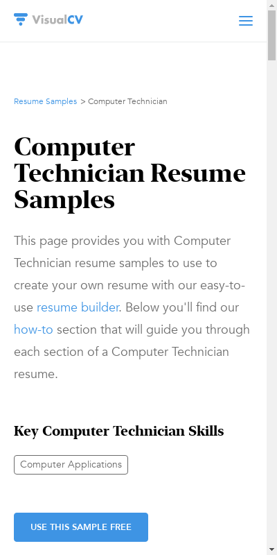 Computer technicians install new computers and upgrades or repair computers that are already in use. Computer Technician Resume Templates 20 Guides Examples