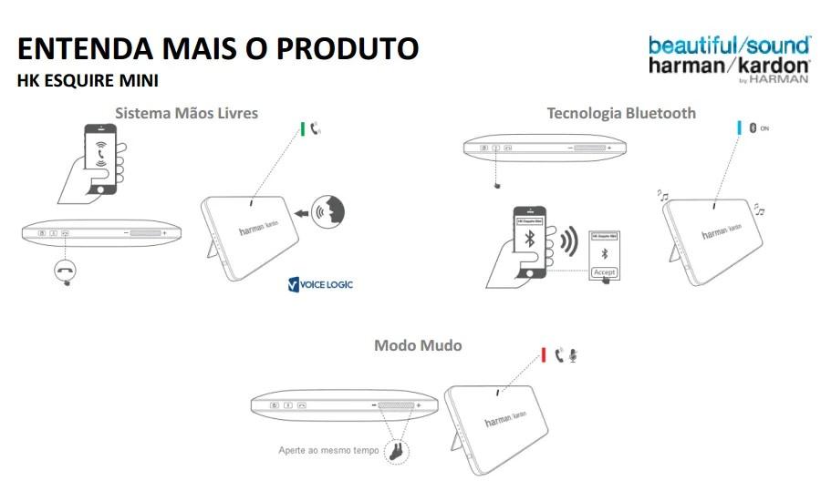 Mini Caixa Bluetooth Jbl Harman Kardon Esquire Mini Preta