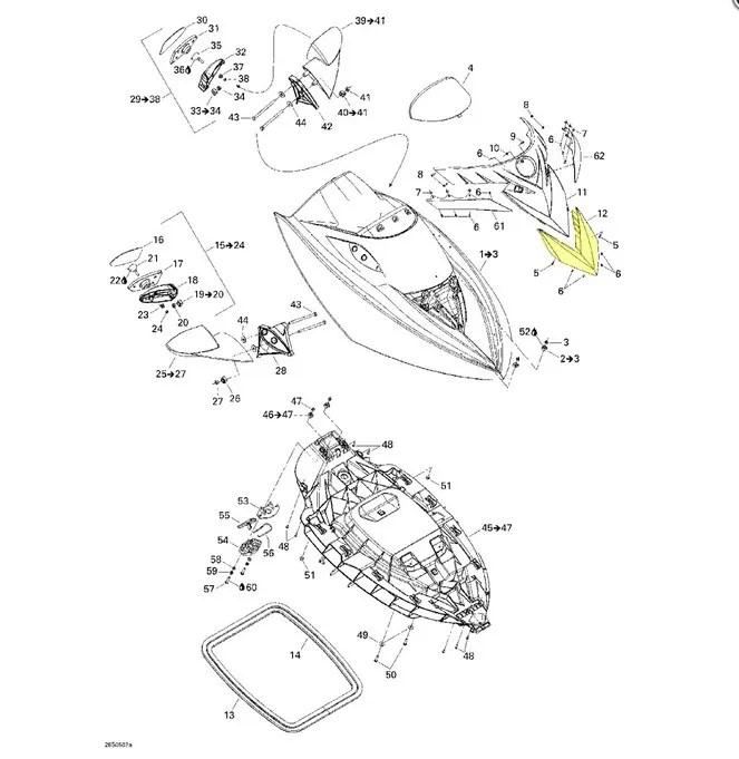 Carenagem Frontal Cromada para Jet Ski Sea Doo RXT