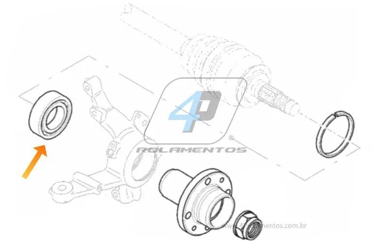 Rolamento de Roda Dianteira FIAT Novo Palio 2012-2014, sem ABS