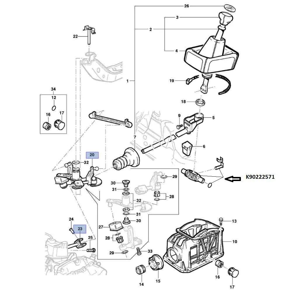 Eixo Articulador Da Alavanca De Cambio Manual Sistema