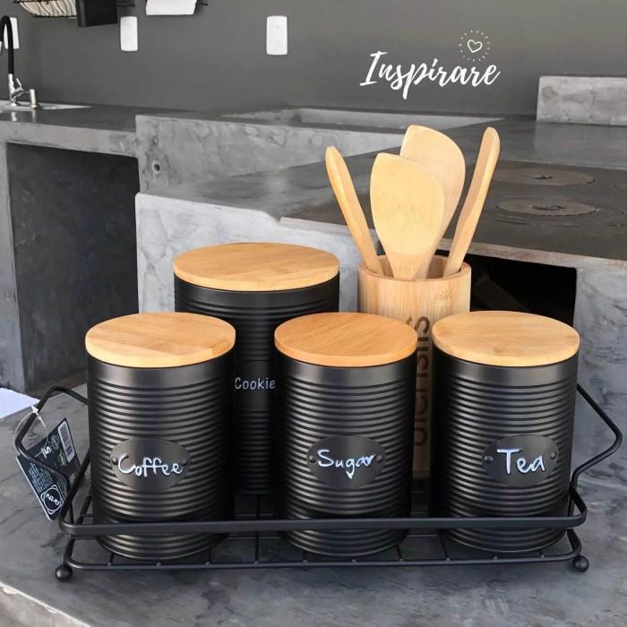 Jogo c/3 Latas Pretas com Tampa de Bambu Porta Mantimentos