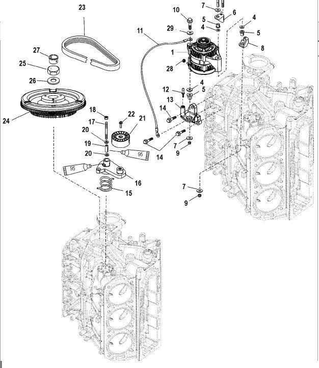 Alternador para motor Mercury Optimax 2.5L 135 HP, 150 HP