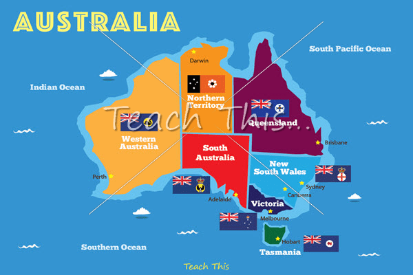 Map of Australia with State Flags Printable Maps and