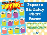 Popcorn Birthday Chart Poster - Printable Classroom ...