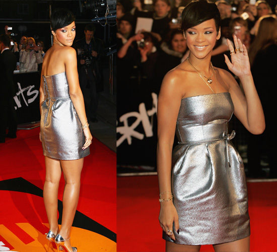 Rihannas rocking a littlle silver dress.