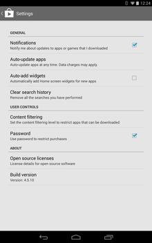 Google Play in-app settings