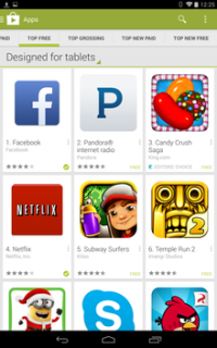 Google Play designed for tablets