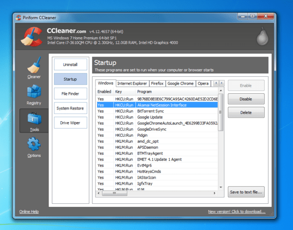 windows 7 ccleaner manage startup programs