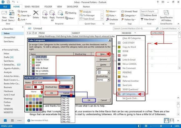 microsoft outlook f2 create categories
