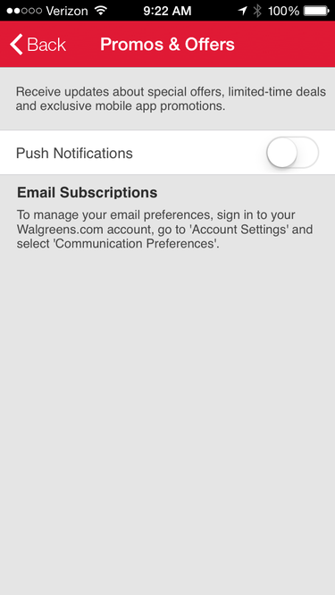 Walgreens iOS app's notifications