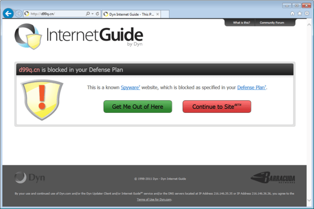 dyn internet guide blocked