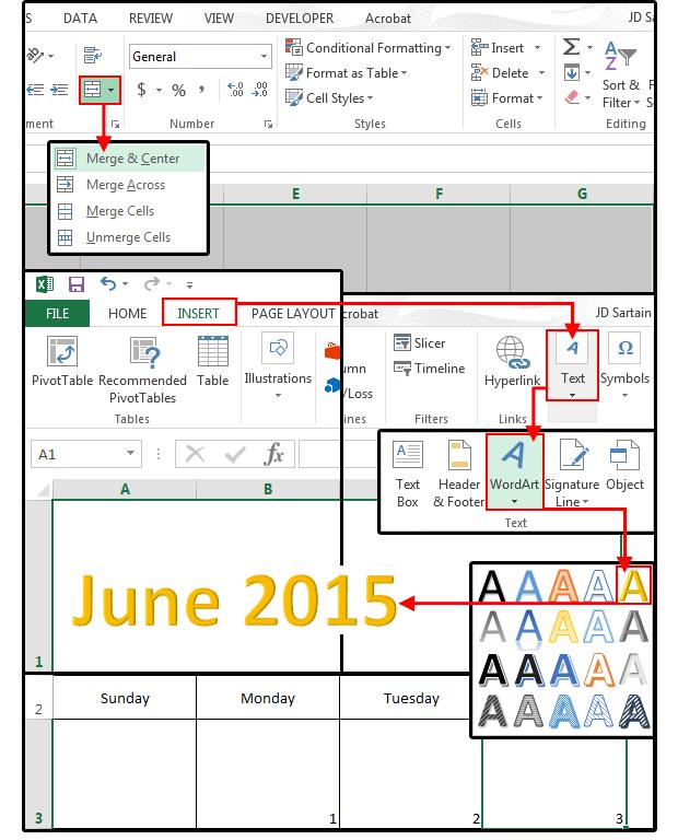 Merge Cells In Excel Mac : merge, cells, excel, Making, Calendar