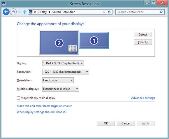 multiple monitors windows screen resolution