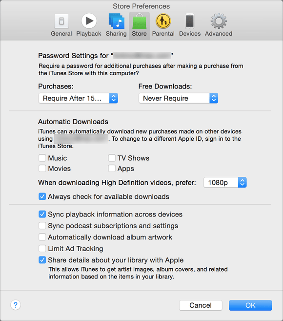 itunes store preferences