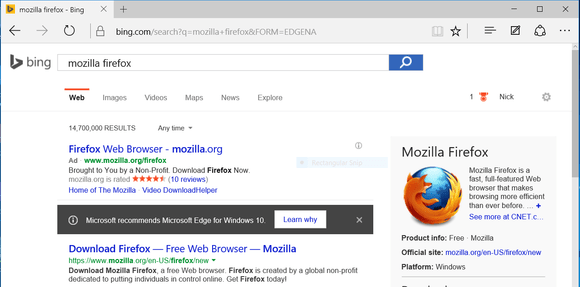 firefox bing windows 10