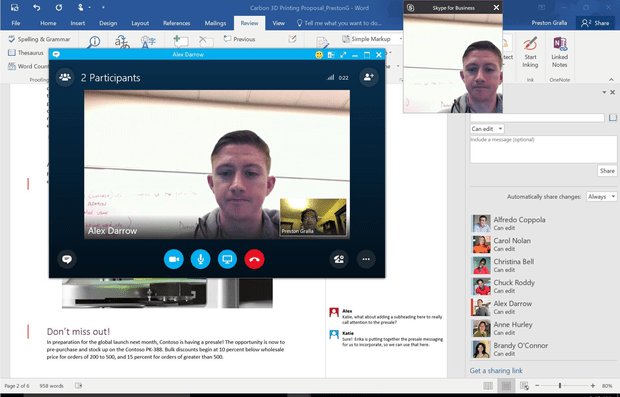 Office 2016 - collaborating with Skype