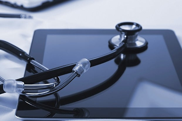 stethoscope tablet healthcare data