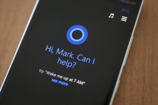 Microsoft's Cortana virtual assistant runs on a Windows Phone handset.