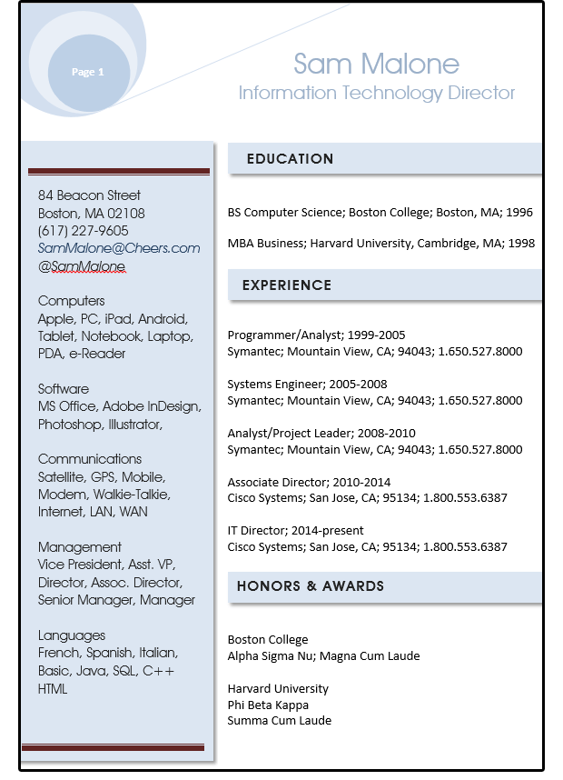 Word resume tips Using style sheets shapes and text