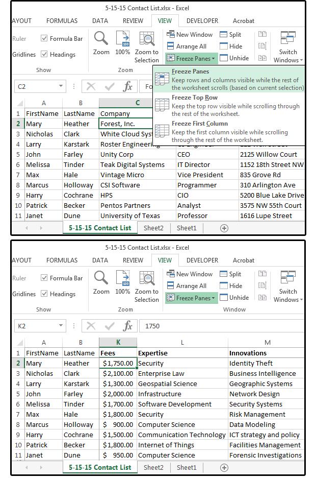 7 Excel tips for huge spreadsheets: Split Screen, Freeze Panes ...