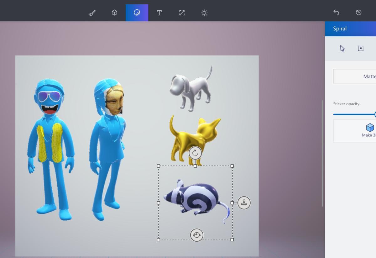 paint 3d sticker interface