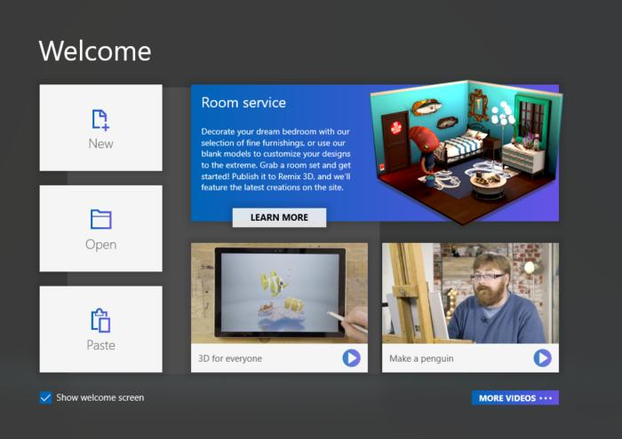 paint3d welcome screen